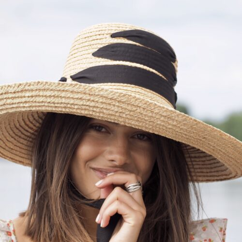 Ribbon tie straw hat